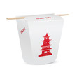 Chinese restaurant closed take out box with chopsticks