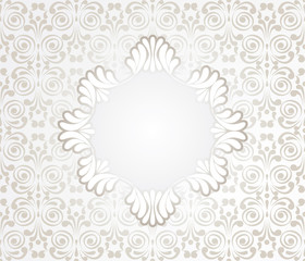 Card with Lace Design Frame on seamless vintage background