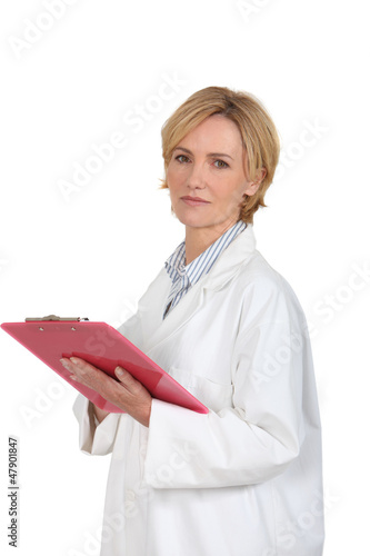 Female doctor with red briefcase