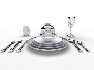 Tavola Apparecchiata ristorante, posate, piatti, menu
