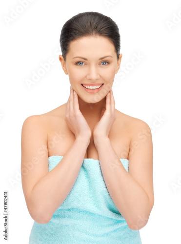 beautiful woman in towel