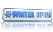 winter offer white banner with snowflake symbol.