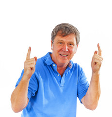 leisure friendly man greets with his hands