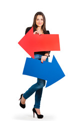 Beautiful woman holding red and blue arrow, left and right