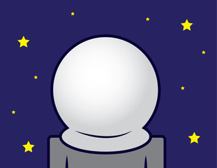 Astronaut in space with blank helmet
