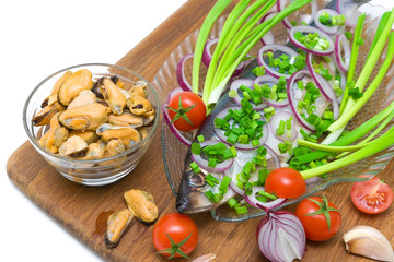 herring, mussels and vegetables close up