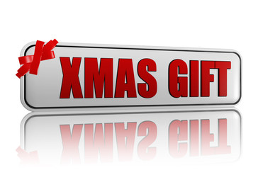 xmas gift banner with ribbon