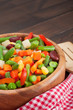 mixed vegetables in wooden bowl