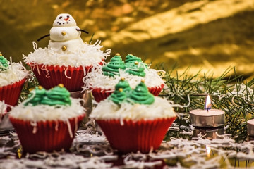 Christmas Cupcakes with Snowman and Christmas Tree Decorations