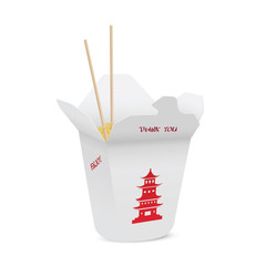 Chinese restaurant opened take out box filled with noodles