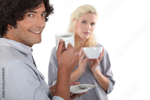 Couple drinking a hot drink