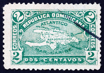 Postage stamp Dominican Republic 1900 Map of Hispaniola