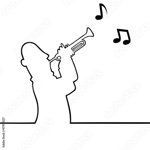 Black line art illustration of a trumpet player