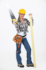 A sexy female carpenter.