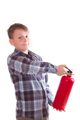 boy with a fire extinguisher