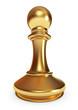 Golden pawn. White background. 3d render