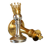 Pawn puts checkmate. Pawn with golden crown. 3d render