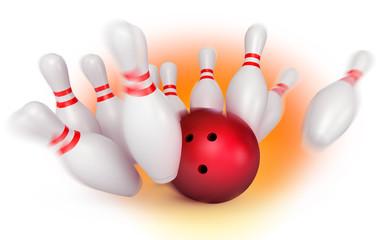 Bowling ball crashing into pins. Depth of field focus on ball