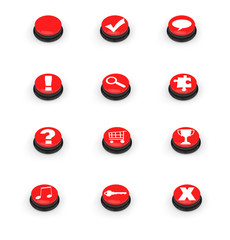 Symbols on red push buttons