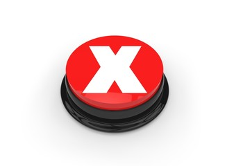 X mark on a red push button