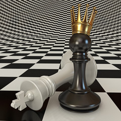 Black does the pawn checkmate. Pawn with golden crown