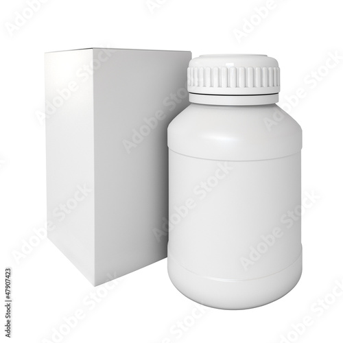 Blank medicine bottle. Package of drugs with. 3d render