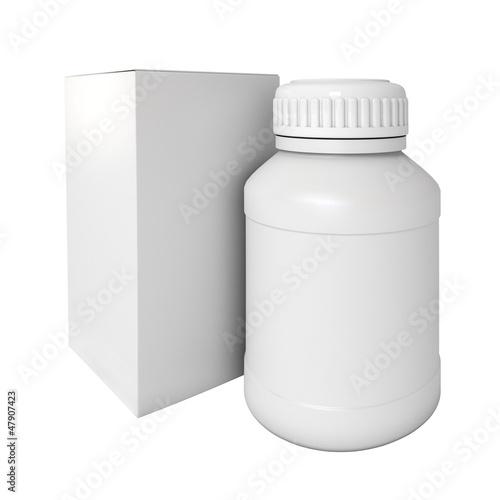 Blank medicine bottle. Package of drugs with. 3d render