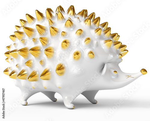 Ceramic hedgehog figurine over white. 3d render