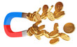 Magnet and golden coins, conceptual illustration, 3d render