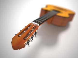 Classical acoustic guitar. 3d render. Depth of field