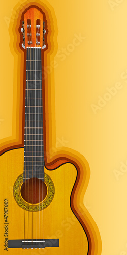 Classical acoustic guitar. 3d render