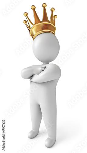 Man with a crown on his head. White background. 3d render