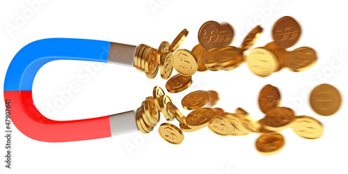 Money magnet with dollar coins. Conceptual illustration