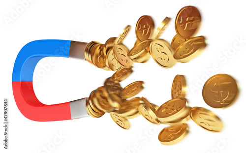 Magnet and golden coins, conceptual illustration, 3d render