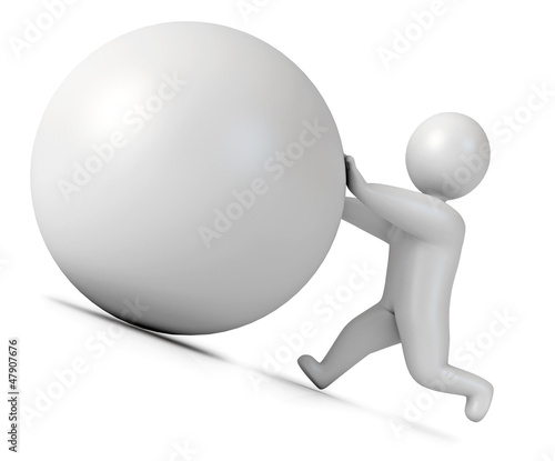 Man pushing a boulder as Sisyphus. Isolated. 3d render