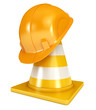 Construction Helmet. Traffic cones. Icon isolated on white