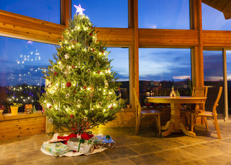 Christmas tree in modern home