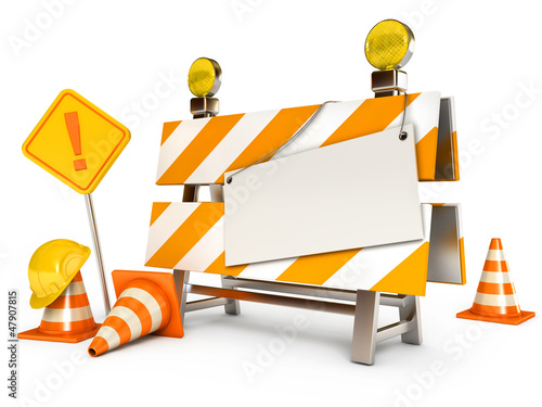Blank sheet. Traffic cones. Road sign. Construction Helmet