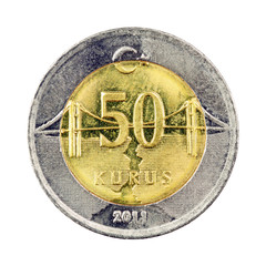 Turkish 50 Kurus coin (Front) Isolated on white background