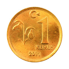 One Turkish Kurus coin (Front) Isolated on white background