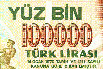 Close up of Turkish banknote as financial background