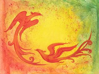 Декоративный фон с красными птицами.