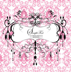 pink floral background with abstract chandelier