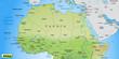 Landkarte vom Norden Afrikas mit Gewässerflächen