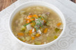 Russian soup rassolnik with chicken gizzards and barley,