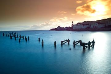The old, derelict pier in Swanage, Dorset.