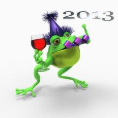 Rana celebrando el año nuevo