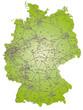 Deutschland als Inselkarte mit Postleitzahlen und Verkehrsnetz