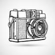 Vintage doodle camera, hand-drawn