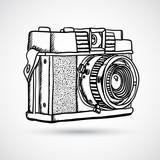 Fototapety Vintage doodle camera, hand-drawn